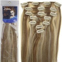 """20"""" Clip in Remy Human Hair Extensions Light Brown with Bleach Blonde 7pcs 70g:Amazon:Beauty"""