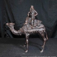 French Bronze Camel Statue Casting Bedouin Arab