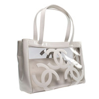 Chanel White Patent Clear Vinyl Tote
