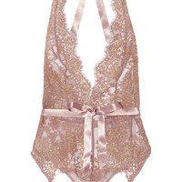 L'Agent by Agent Provocateur - Iana metallic lace and stretch-tulle bodysuit