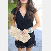 Black Knit Short Sleeve Dress with Lace