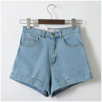 """American Apparel"" All-match Fashion Casual High Waist Crimping Wide Leg Denim Shorts Hot Pants Jeans"