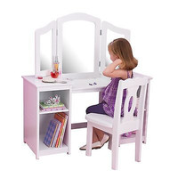 Kids White Wooden Deluxe Vanity & Chair with Mirror and Drawer Storage Set