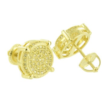 Round Design Mens Earrings Screw Back 14k Gold Finish Yellow Lab Diamonds 11 MM