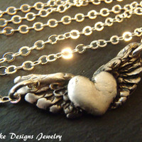Recycled silver Angel wing necklace winged heart pendant