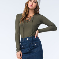 Full Tilt Womens Ribbed Lace Up Top Olive  In Sizes