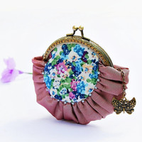 Coin purse Silk purse Metal frame purse Embroidery by DooDesign