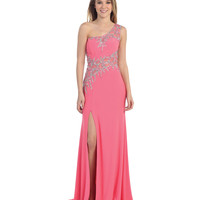 Fuchsia One Shoulder Beaded Sheer High Slit Dress 2015 Prom Dresses