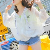 """Adidas"" Women Loose Casual Fashion Letter Webbing Sun Protection Clothing Long Sleeve Cardigan Hooded Coat"