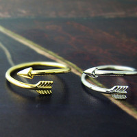 1piece Arrow Knuckle Ring Simple Adjustable Ring Jewelry gift idea Free size Gold Silver