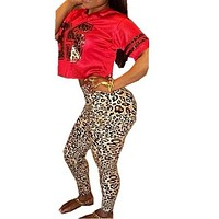 Echoine Leopard Jumpsuit Feminino Two Piece Outfit Short T shirt and Full Length Pants Rompers Women Sexy Plus Size Jumpsuits