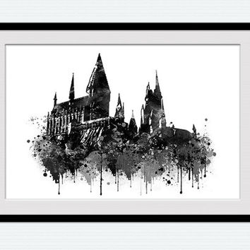 Hogwarts art print Hogwarts black and white poster Harry Potter watercolor print Harry Potter decor Kids room wall art Home decoration W598