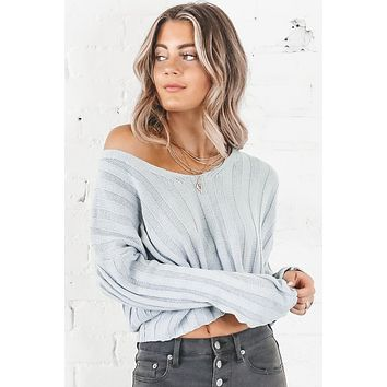 Who Could Blame Me Blue Gray Ribbed Crop Sweater