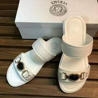 Versace 2018 new casual fashion woven beach travel men's shoes F-XIMIN-WMNX white
