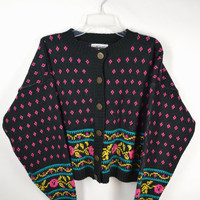 90s Floral Cardigan Neon Sweater Soft Grunge 80s Vintage Womens Clothing Large Oversize Cropped Black Knit Hot Pink Green Blue Tumblr Girl