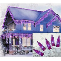 Set of 100 Purple Mini Icicle Christmas Lights - White Wire 25250660 | ChristmasCentral