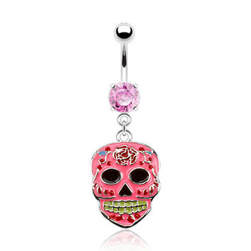 Sugar Skull Belly Ring Pink Navel Ring Body Jewelry Piercing Jewelry 14ga