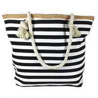 Banded Striped Beach Town Tote Bag with Rope Handles (Black and White)