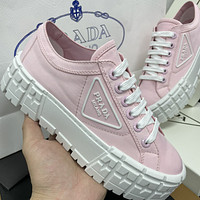 Prada New Canvas Embroidered Platform Shoes Women's Triangle Logo Casual Shoes sneakers Pink