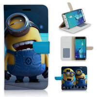 S6 Edge Plus Laughing Minions PU Leather Flip Case For Samsung Galaxy S6 Edge Plus G928 G928F Full Protection Cover