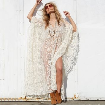 Wanderlust Mykonos Kaftan Lace Mesh Maxi Gown Dress Boho Chic Beach Cover-up Swimwear Long Dresses Women Robe Top