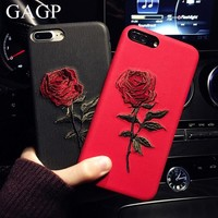 Embroidery Snake Rose Case For iPhone X 6 6S Plus 7 8 Cover PU leather Coque For iPhone 7 8 Plus Case For iPhone 8 Plus Cases X