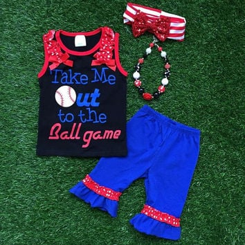 """Girls Toddler Little Sister Baseball Outfit """"Take Me Out To the Ballgame"""" Boutique Capri Short Sleeve Summer Outfit"""