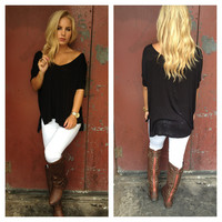 Black V-Neck Modal Basic Tee