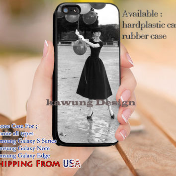 Beautiful Audrey Hepburn Balloon iPhone 6s 6 6s+ 5c 5s Cases Samsung Galaxy s5 s6 Edge+ NOTE 5 4 3 #movie #actrees #adh dl10