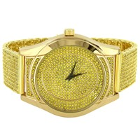 Men's Fully  Canary Simulated Diamonds Classy Band Designer Watch