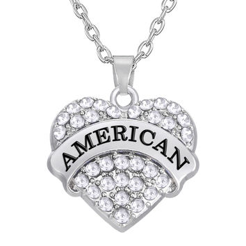 American Fourth of July Heart Necklace