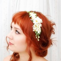 Lara  a delicate white floral headband by gardensofwhimsy on Etsy
