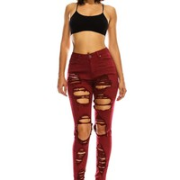 Women's High Rise Destroyed Skinny Jeans
