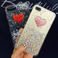 Fashion 3D DIY Bling Glitter Powder Love Heart Phone Cases For iphone 7 6 6s Plus Case Soft TPU Silicone Clear Epoxy Back Cover