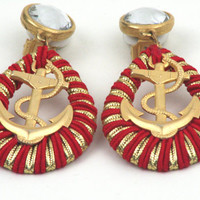 1980's Sailor Anchor Clip On Earrings Red and by TheBabyDynosaur