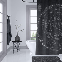 Star Map Shower Curtain - Vintage Astronomy, Home Decor - Bathroom - space travel,  black and beige, masculine