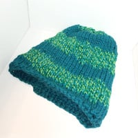 turquoise and green striped knitted beanie - cute striped beanie - blue green striped hat - lime and turquoise stripe pattern hat - blue hat