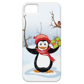 Penguin with Christmas gift winter landscape iPhone 5 Cases