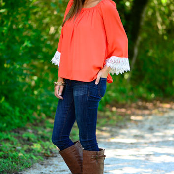 Lace Yourself Blouse, Orange/White