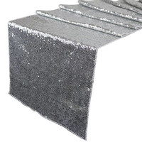 """Sequin Table Runner Solid Silver 12""""x108""""-Just Artifacts Brand- Item SKU: LTR120007 - Metallic Table Runners for Weddings, Parties, & Events"""