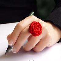 Red rose ring  original gift from France by FromParis on Etsy