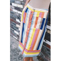 Day By Day Button Down Skirt, Stripe Multi