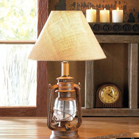 Vintage Old World Style Camping Lantern Table Lamp with Burlap Shade