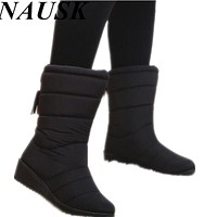 Winter Women Boots Down Waterproof Snow Boots Tassel Mid-Calf Ladies Shoes