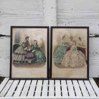 Pair of French antique framed fashion plates shabby chic, fashion prints, French home decor, antique Paris fashion, wall decor, gift for her