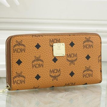 MCM explosive letter printing personality long zipper clutch Wallet Bag