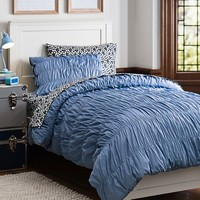 Chambray Ruched Duvet Bedding Bundle