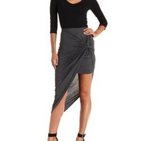 Charcoal Knotted Asymmetrical Skirt by Charlotte Russe