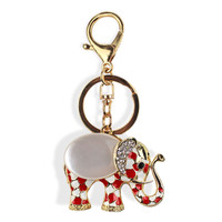 Definite Must! Gold Red Crystal Accented Elephant Keychain, Purse Charm