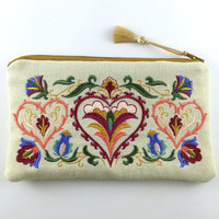 Embroidered Linen Cosmetic Bag with Tassel,Womens Embroidered Make up bag,Linen Clutch,Fabric Clutch,Boho clutch bag,Embroidered Clutch